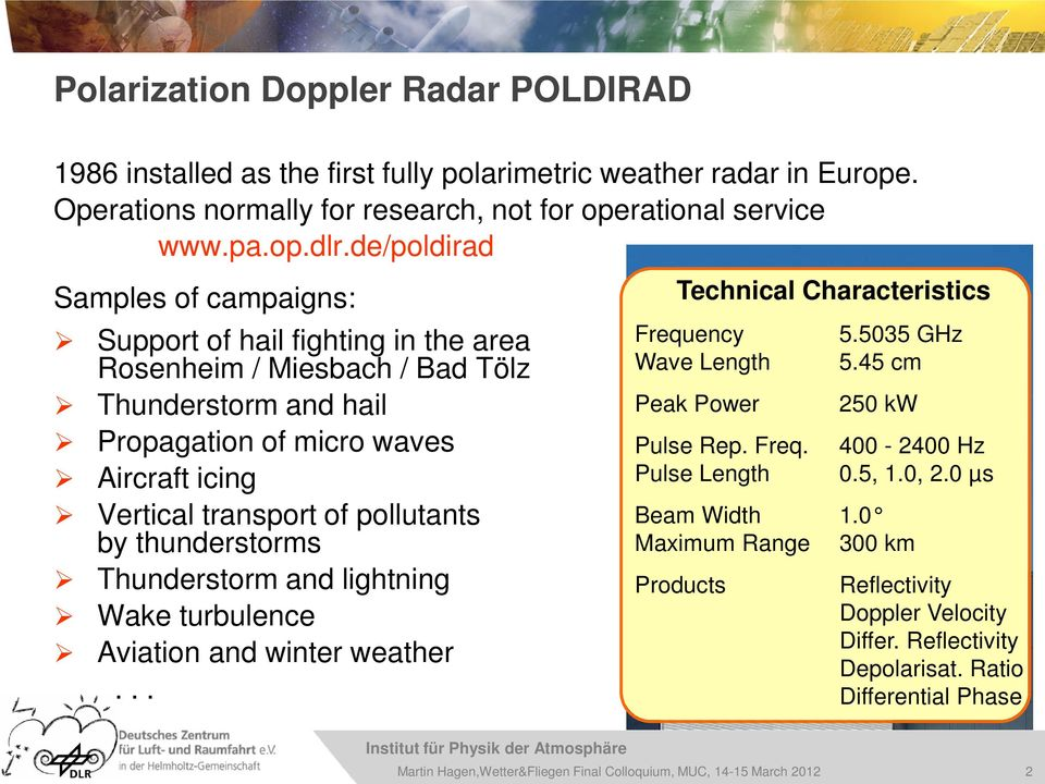 pollutants by thunderstorms Thunderstorm and lightning Wake turbulence Aviation and winter weather... Technical Characteristics Frequency Wave Length Peak Power 5.5035 GHz 5.