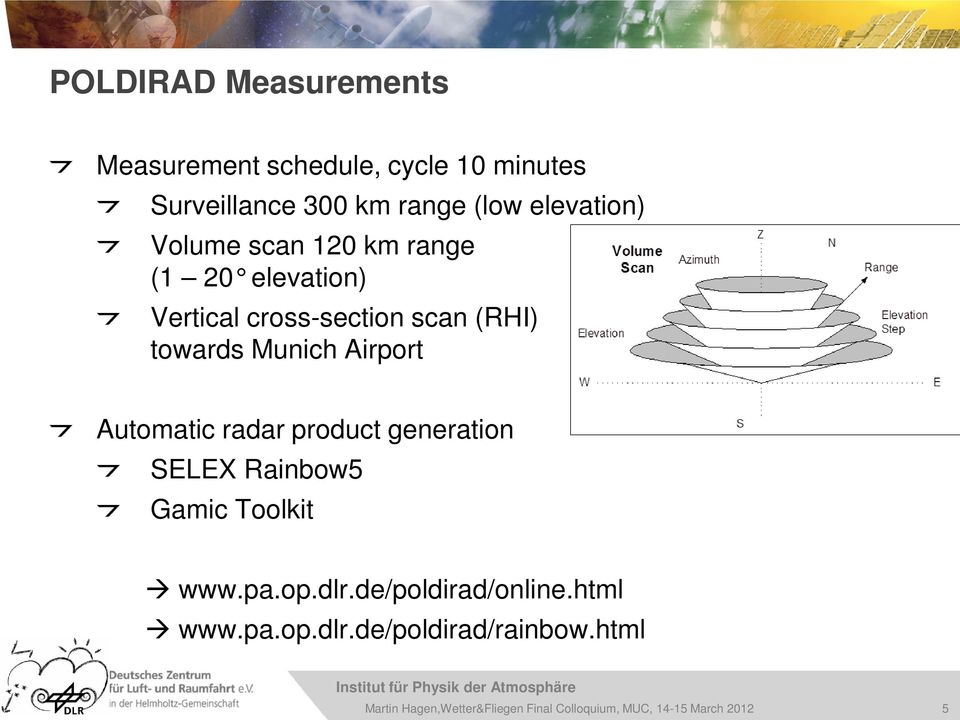 cross-section scan (RHI) towards Munich Airport Automatic radar product generation