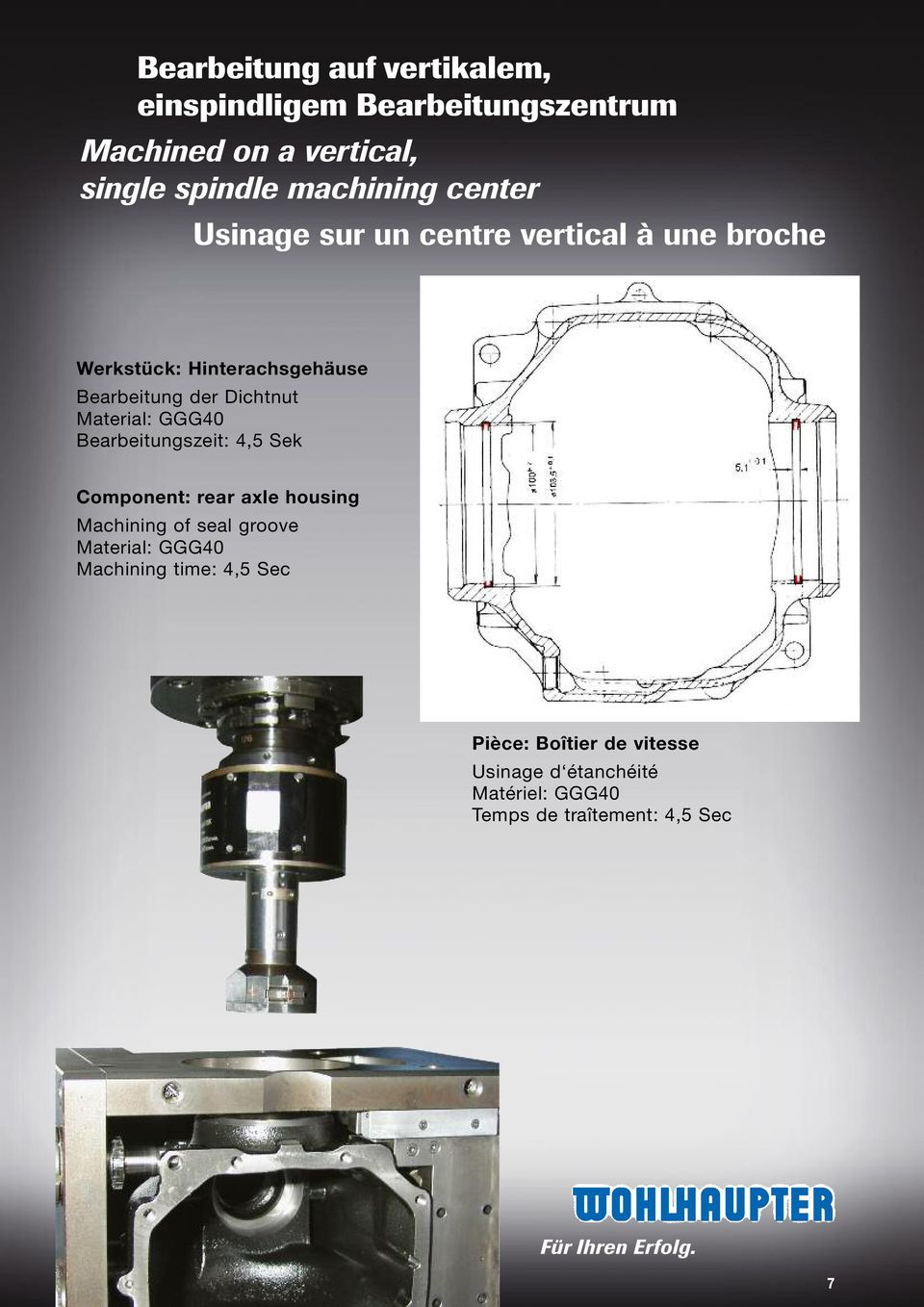 Material: GGG40 Bearbeitungszeit: 4,5 Sek Component: rear axle housing Machining of seal groove Material: GGG40