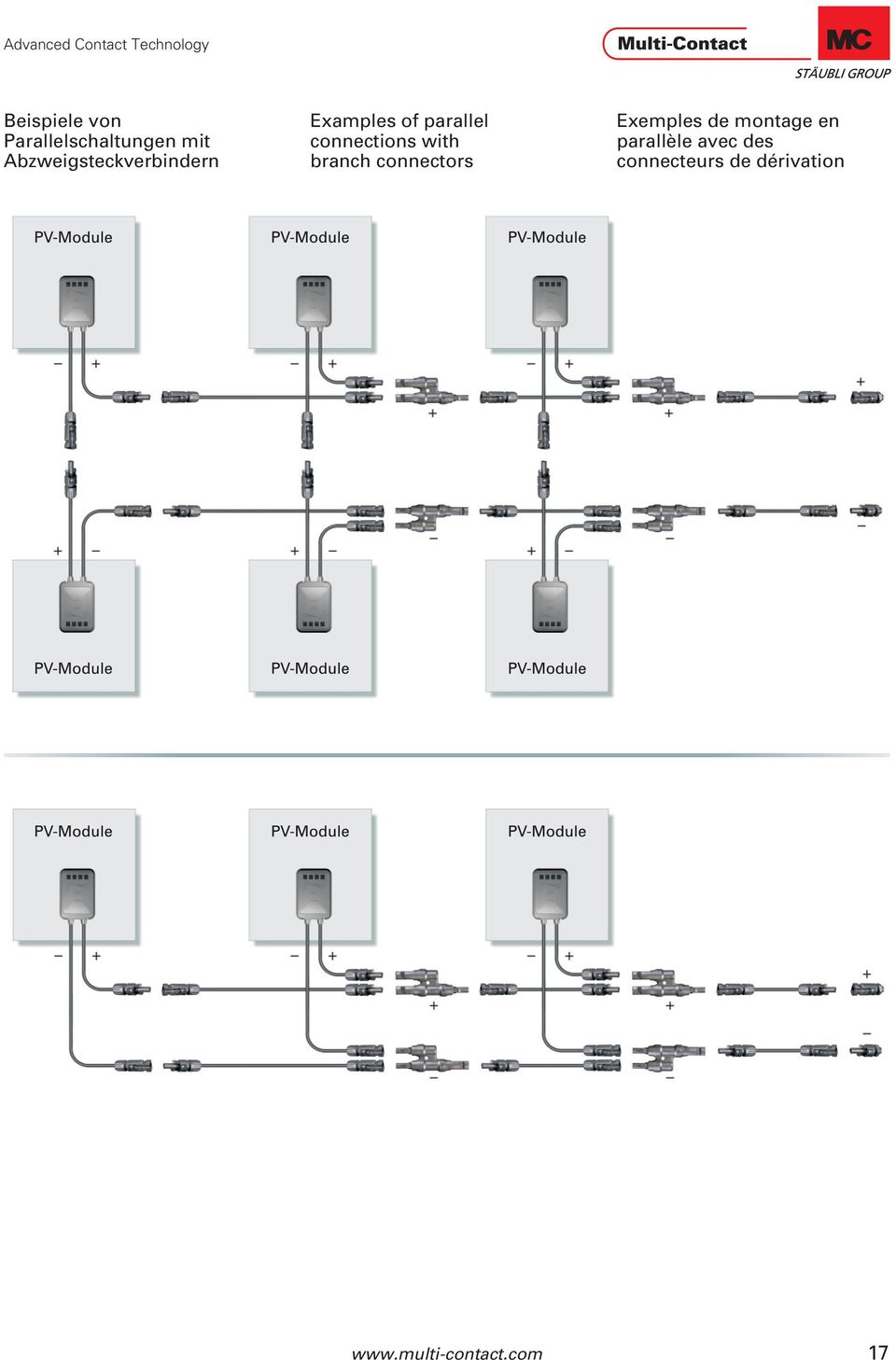 connections with branch connectors Exemples de