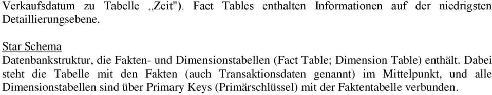 Star Schema Datenbankstruktur, die Fakten- und Dimensionstabellen (Fact Table; Dimension Table)