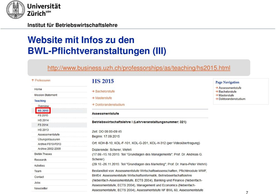 (III) http://www.business.uzh.