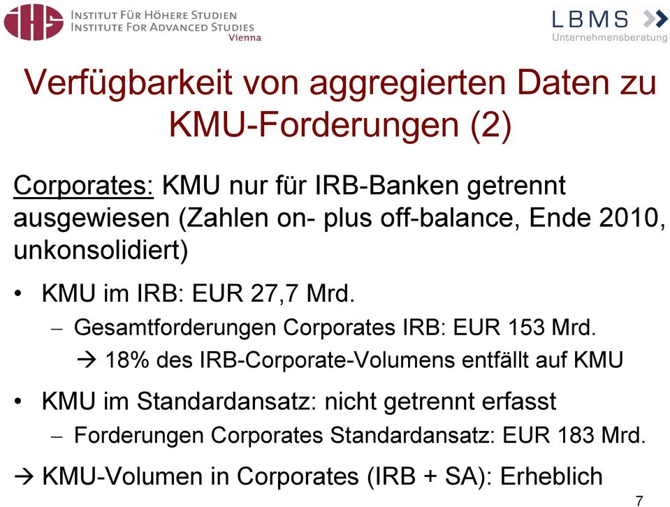 Gesamtforderungen Corporates IRB: EUR 153 Mrd.