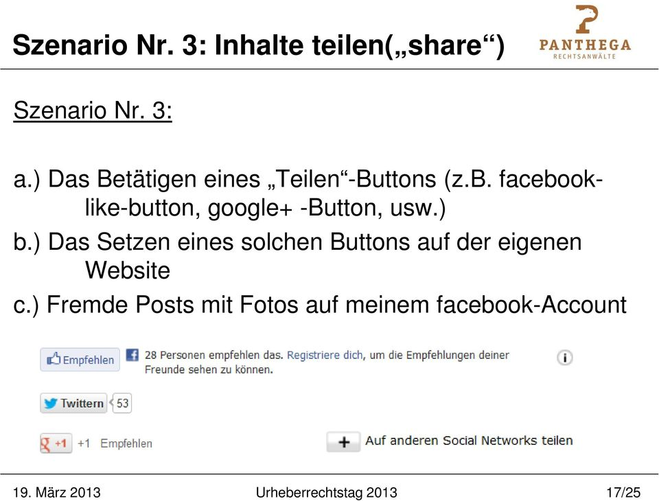 facebooklike-button, google+ -Button, usw.) b.