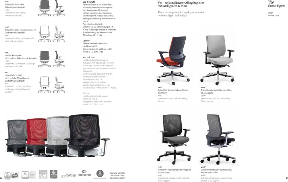 backrest with mesh back veo77 Drehstuhl XS - XL (NPR) mit 51 cm hoher Rückenlehne mit Kunststoffrücken und Polster veo77 Task chair XS - XL (NPR) with 51 cm high backrest with plastic back and