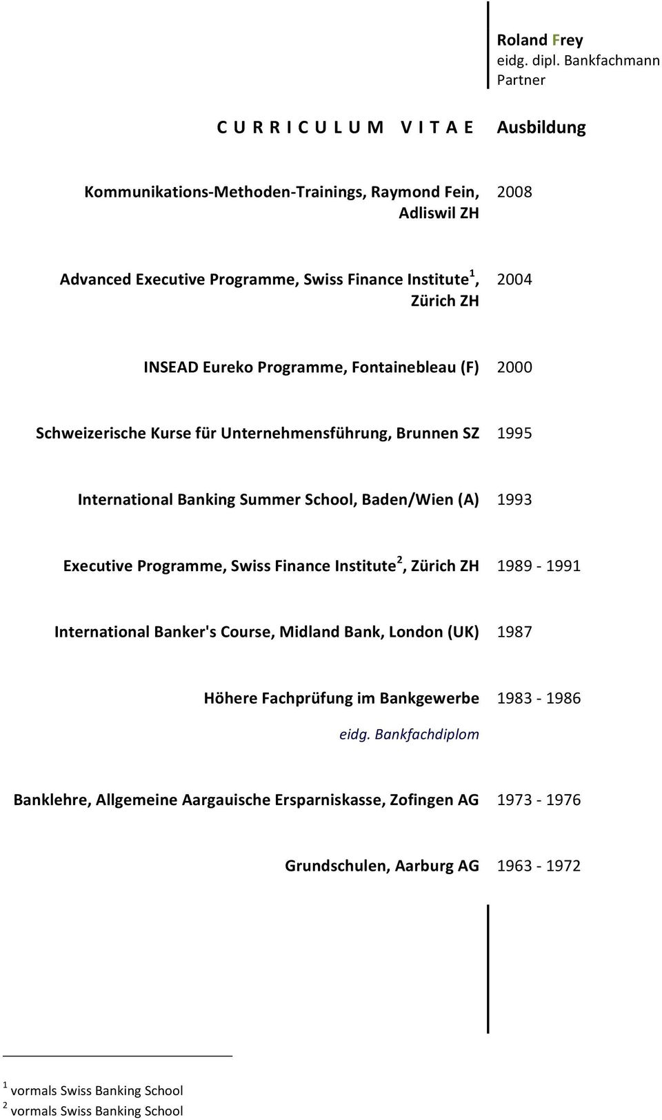 Programme, Swiss Finance Institute 2, Zürich ZH 1989-1991 International Banker's Course, Midland Bank, London (UK) 1987 Höhere Fachprüfung im Bankgewerbe 1983-1986 eidg.