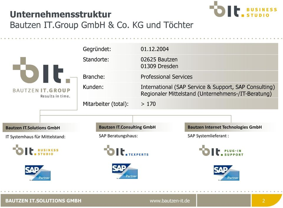 International (SAP Service & Support, SAP Consulting) Regionaler Mittelstand (Unternehmens-/IT-Beratung) Bautzen IT.