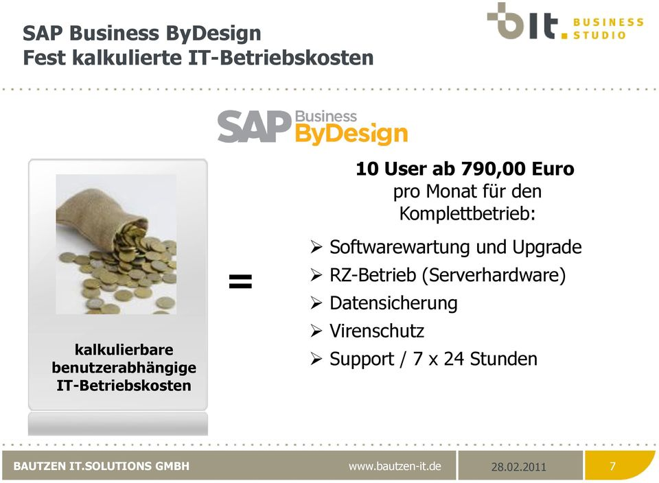 IT-Betriebskosten = Softwarewartung und Upgrade RZ-Betrieb (Serverhardware)