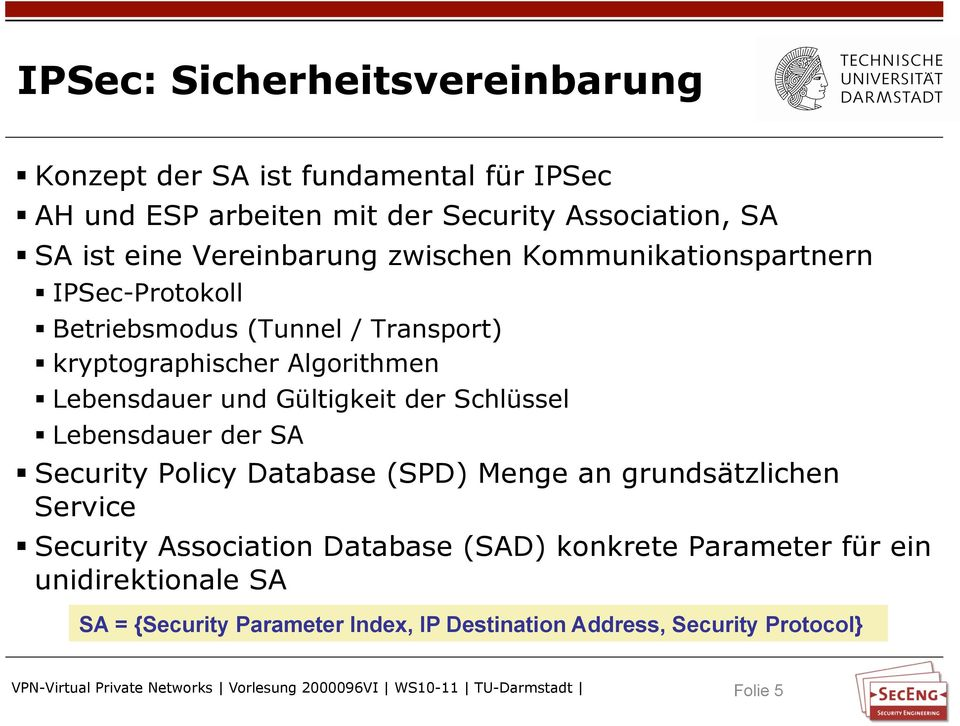 und Gültigkeit der Schlüssel Lebensdauer der SA Security Policy Database (SPD) Menge an grundsätzlichen Service Security Association