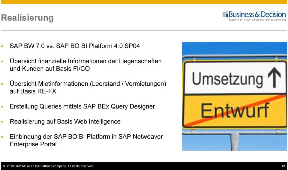 Mietinformationen (Leerstand / Vermietungen) auf Basis RE-FX Erstellung Queries mittels SAP BEx Query