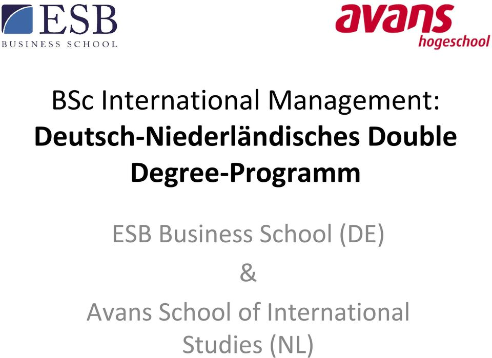 Degree-Programm ESB Business School