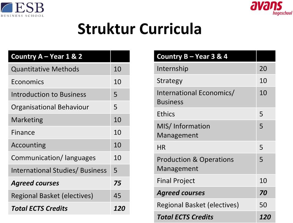 Basket(electives) 45 Total ECTS Credits 120 CountryB Year3 & 4 Internship 20 Strategy 10 International Economics/ Business Ethics 5 MIS/