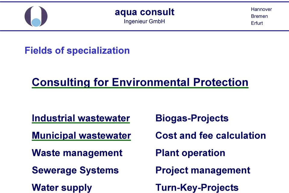 management Sewerage Systems Water supply Biogas-Projects Cost