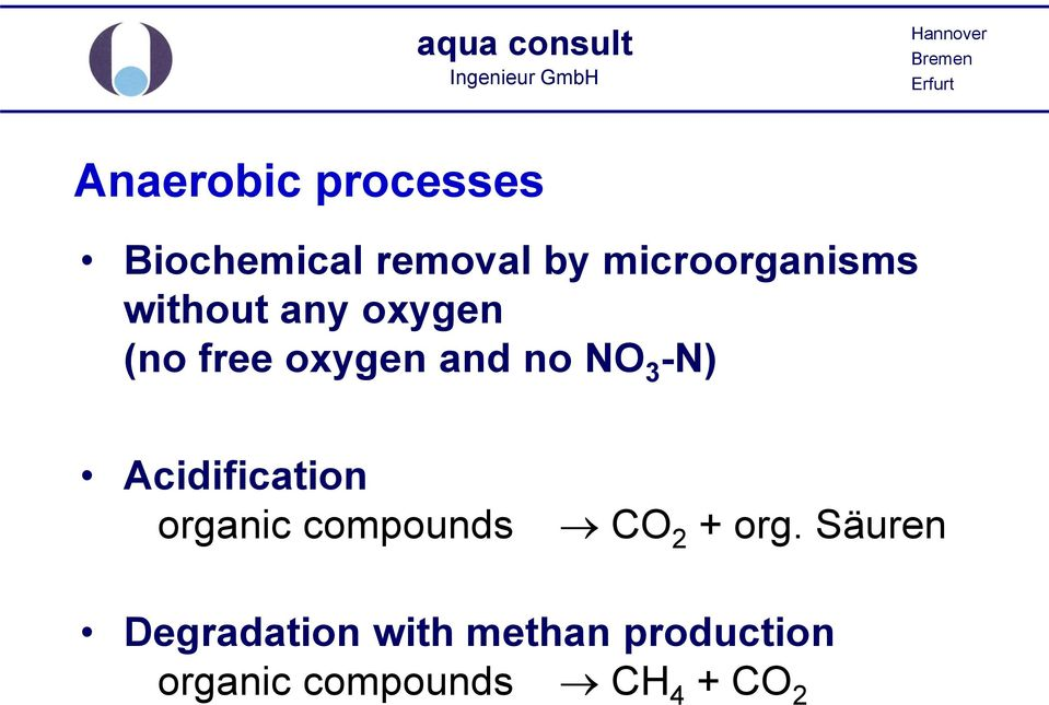 no NO 3 -N) Acidification organic compounds CO 2 + org.