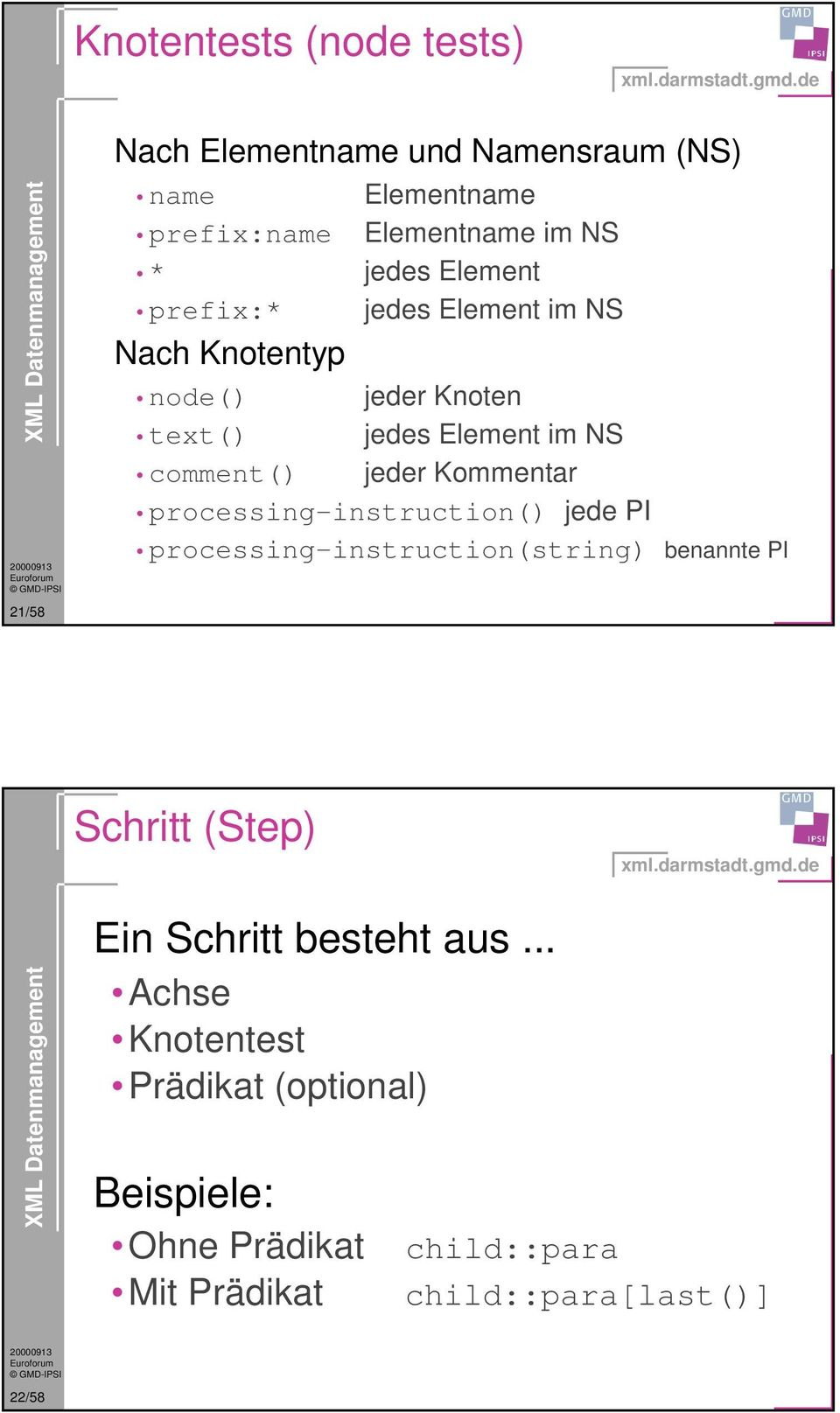 comment() jeder Kommentar processing-instruction() jede PI processing-instruction(string) benannte PI Schritt (Step)
