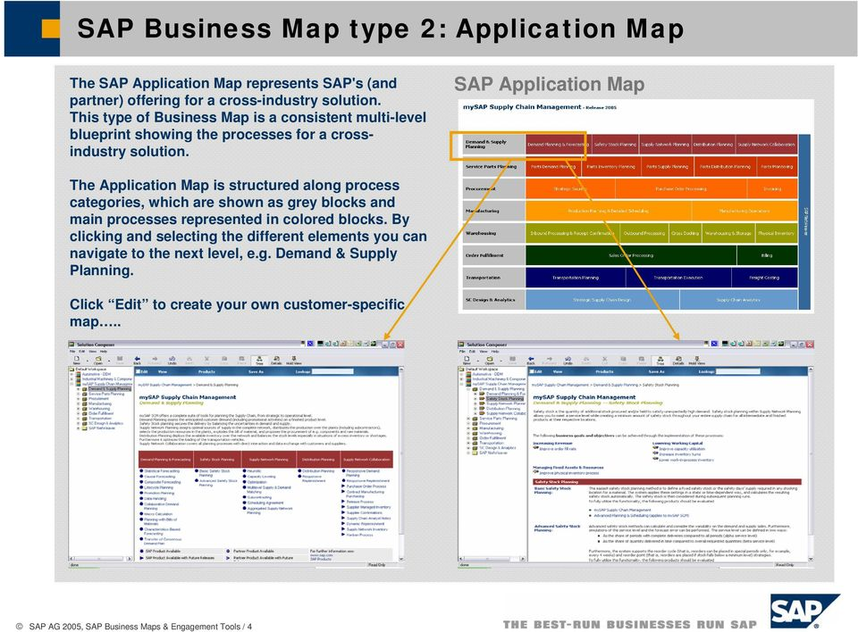 SAP Application Map The Application Map is structured along process categories, which are shown as grey blocks and main processes represented in colored