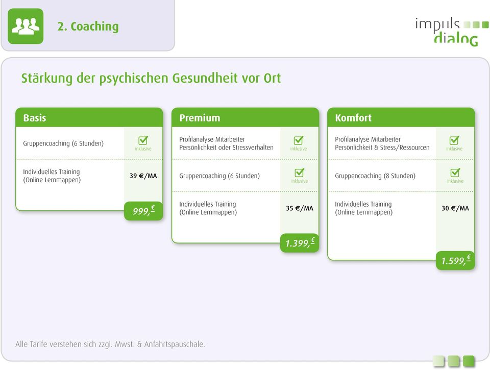 Training (Online Lernmappen) 39 /MA Gruppencoaching (6 Stunden) Gruppencoaching (8 Stunden) 999, c Individuelles Training (Online