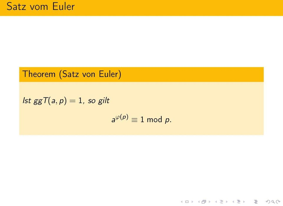 Euler) Ist ggt(a, p)