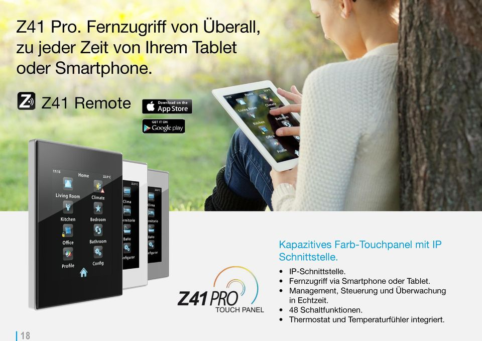 Z41 Remote 18 Kapazitives Farb-Touchpanel mit IP Schnittstelle.
