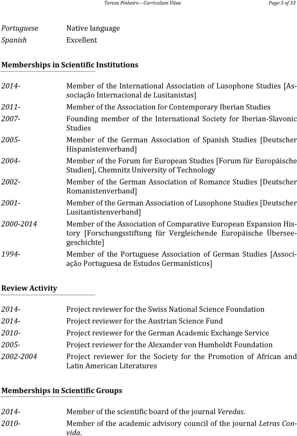 Member of the German Association of Spanish Studies [Deutscher Hispanistenverband] 2004- Member of the Forum for European Studies [Forum für Europäische Studien], Chemnitz University of Technology
