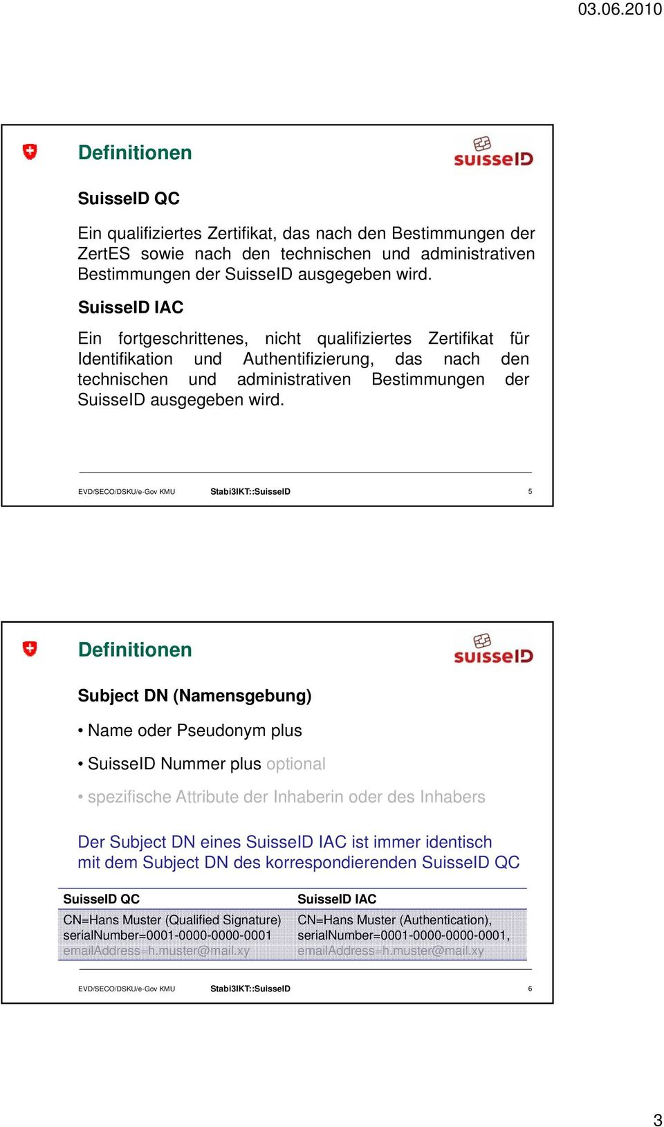 EVD/SECO/DSKU/e-Gov KMU Stabi3IKT::SuisseID 5 Subject DN (Namensgebung) Name oder Pseudonym plus SuisseID Nummer plus optional spezifische Attribute der Inhaberin oder des Inhabers Der Subject DN