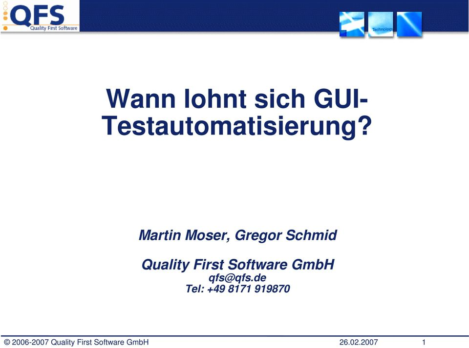 Software GmbH qfs@qfs.