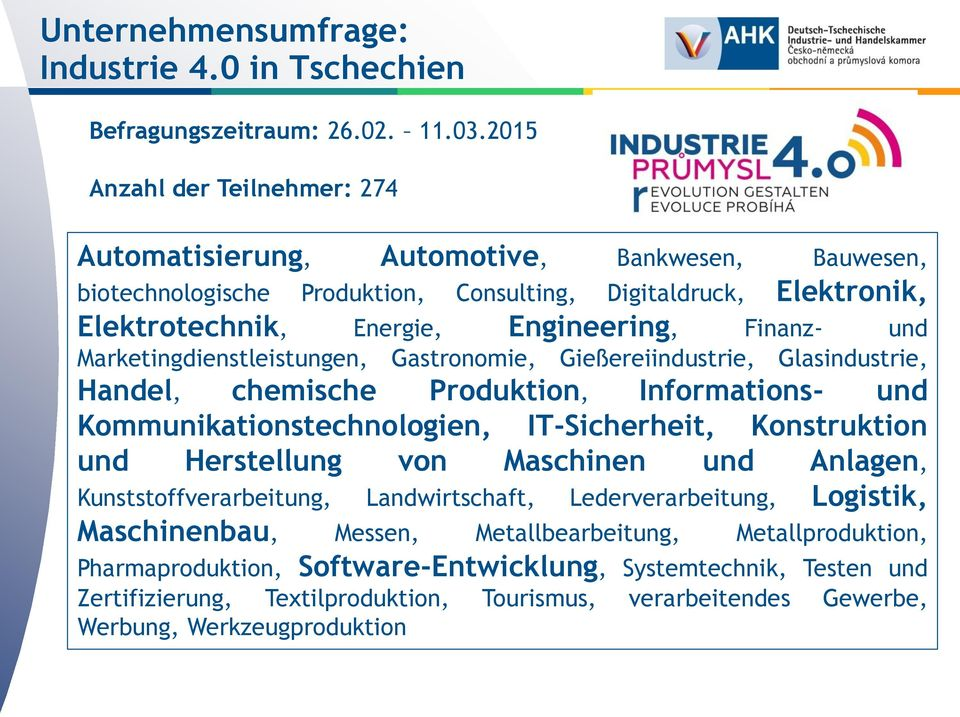 Engineering, Finanz- und Marketingdienstleistungen, Gastronomie, Gießereiindustrie, Glasindustrie, Handel, chemische Produktion, Informations- und Kommunikationstechnologien,