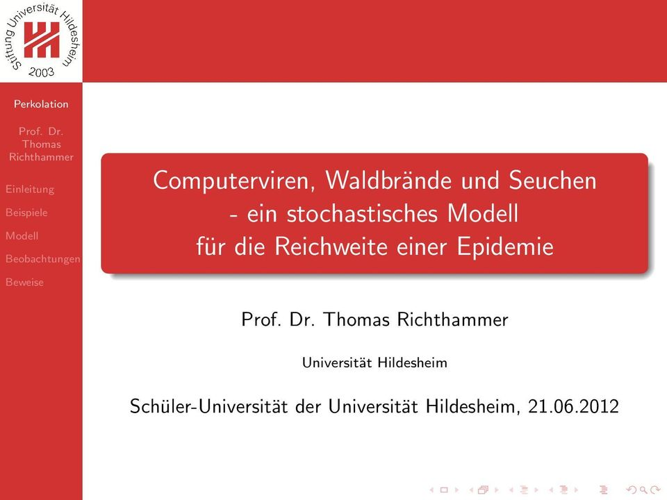Epidemie Universität Hildesheim