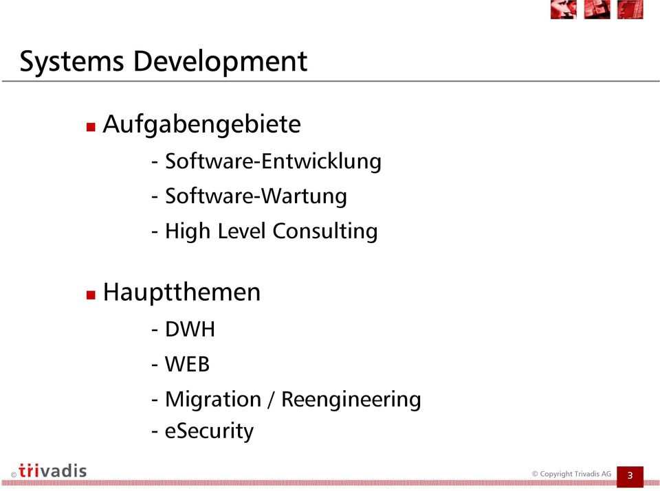 - High Level Consulting Hauptthemen -DWH