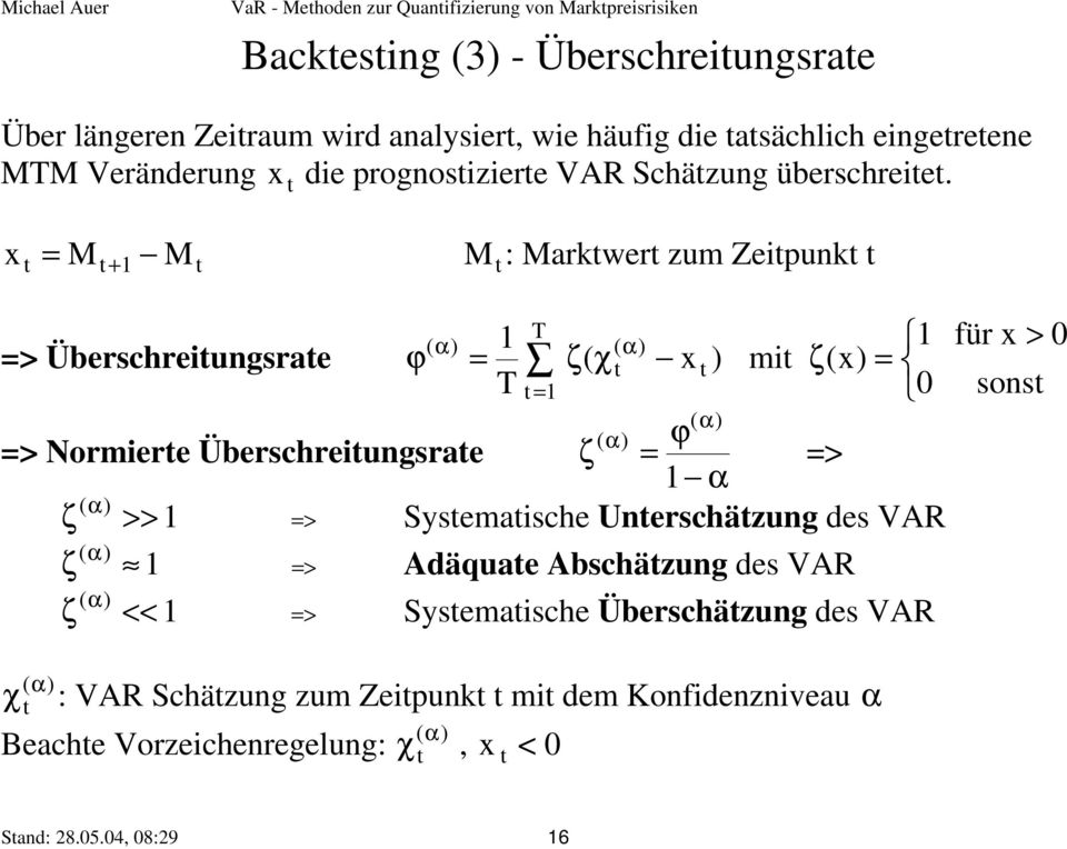 x t = Mt + 1 Mt t M : Marktwert zum Zeitpunkt t T ( α) 1 ( α) 1 => Überschreitungsrate ϕ = ζ( χt x t ) mit ζ(x) = T t = 1 0 ( α) ( α) ϕ => Normierte