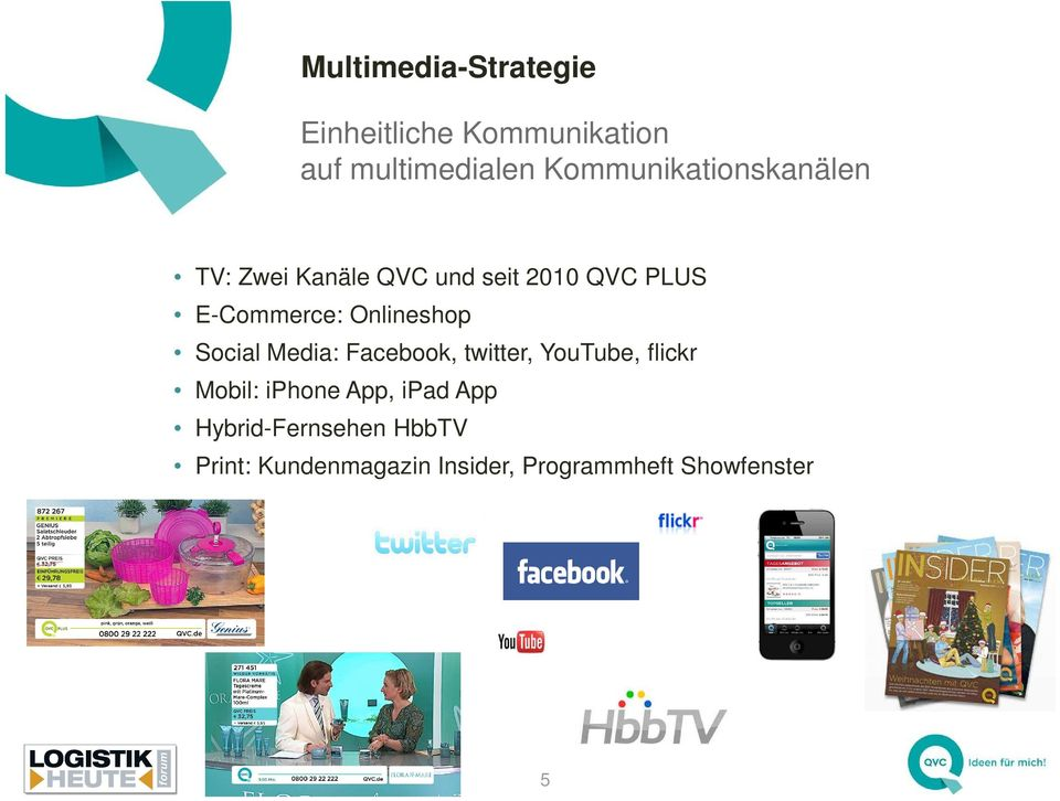 Media: Facebook, twitter, YouTube, flickr Mobil: iphone App, ipad App