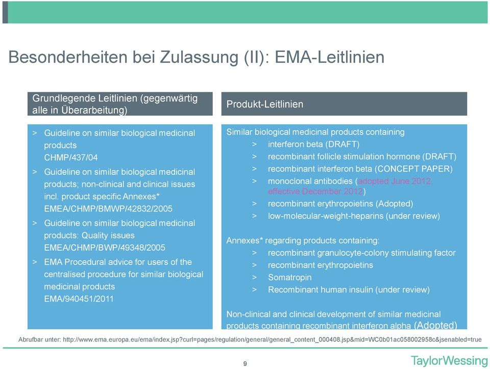 product specific Annexes* EMEA/CHMP/BMWP/42832/2005 > Guideline on similar biological medicinal products: Quality issues EMEA/CHMP/BWP/49348/2005 > EMA Procedural advice for users of the centralised