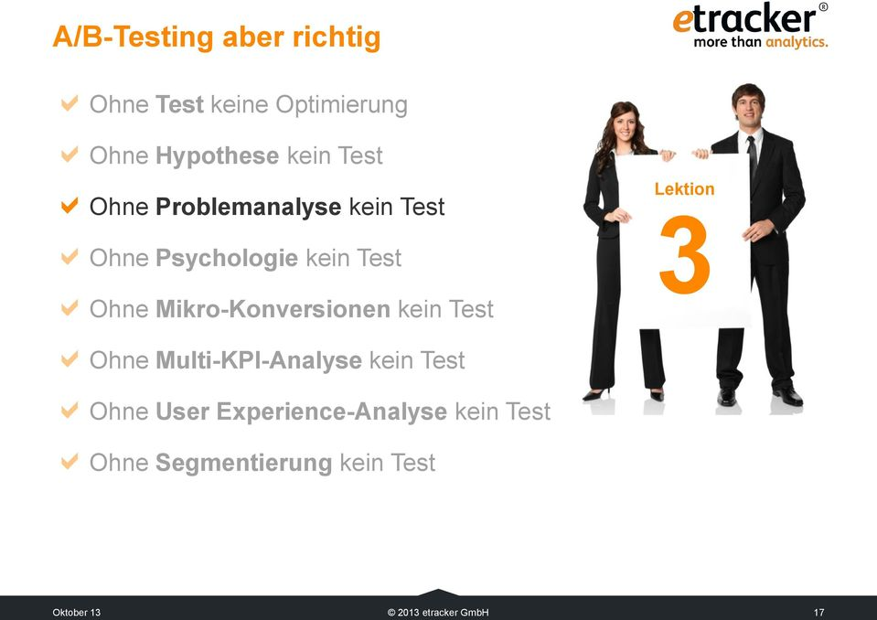 Mikro-Konversionen kein Test Lektion 3 Ohne Multi-KPI-Analyse kein Test