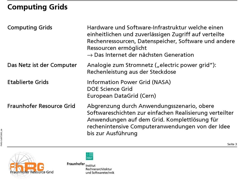 ( electric power grid ): Rechenleistung aus der Steckdose Information Power Grid (NASA) DOE Science Grid European DataGrid (Cern) Abgrenzung durch Anwendungsszenario,