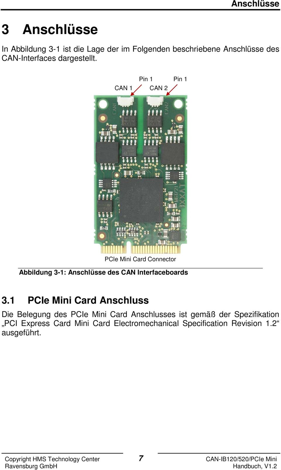 Pin 1 Pin 1 CAN 1 CAN 2 PCIe Mini Card Connector Abbildung 3-1: Anschlüsse des CAN Interfaceboards 3.