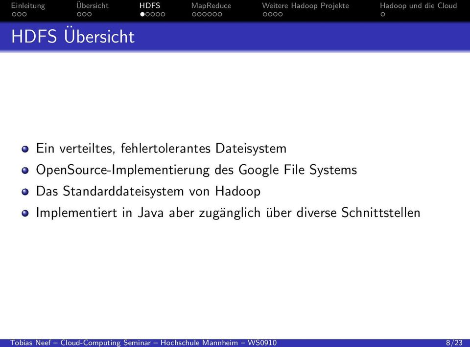 OpenSource-Implementierung des Google File Systems Das