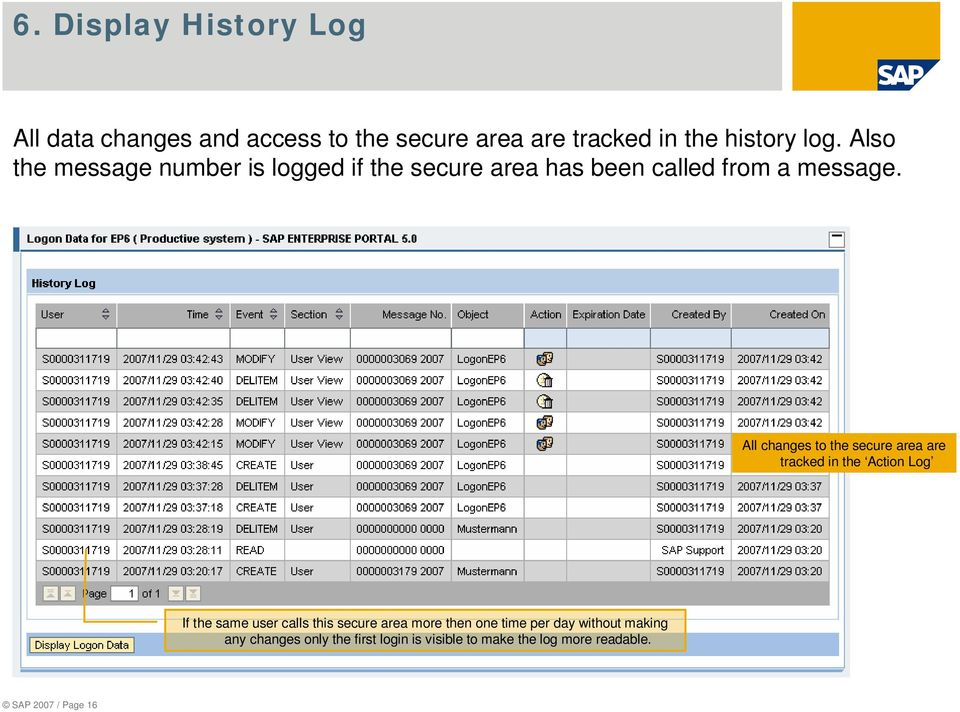 All changes to the secure area are tracked in the Action Log If the same user calls this secure area more