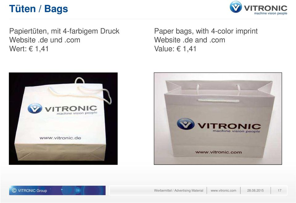 com Wert: 1,41 Paper bags, with 4-color imprint