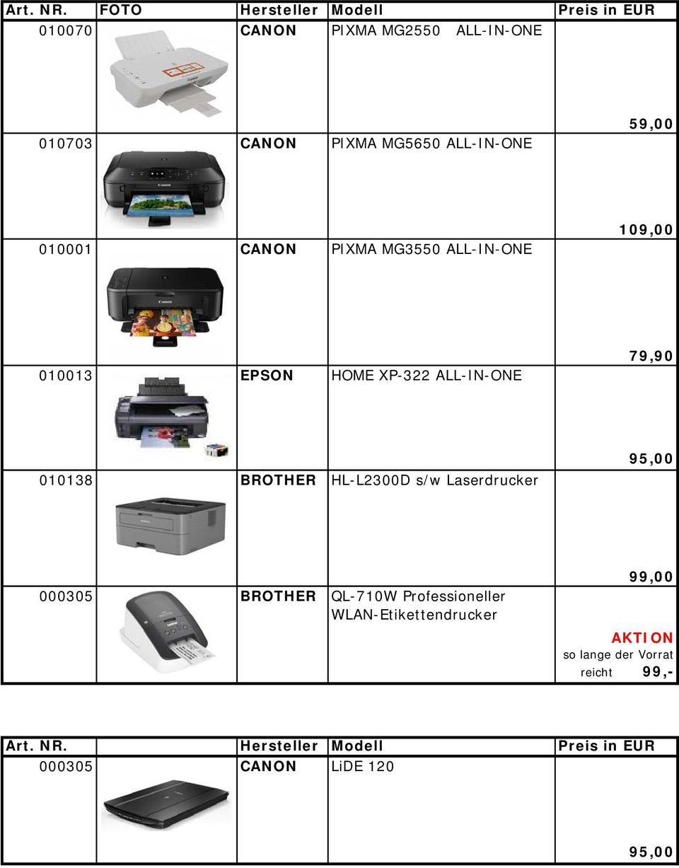 ALL-IN-ONE 59,00 010001 CANON PIXMA MG3550 ALL-IN-ONE 109,00 010013 EPSON HOME XP-322 ALL-IN-ONE 79,90