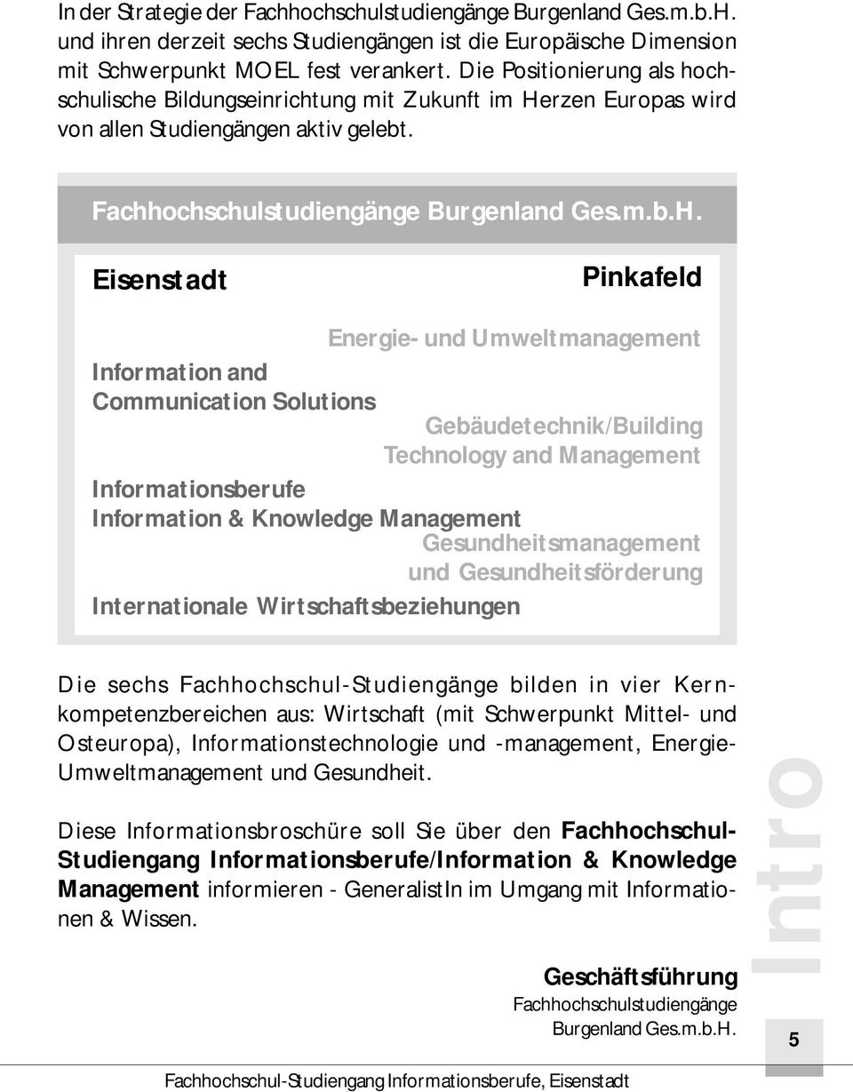 Eisenstadt Pinkafeld Information and Communication Solutions Energie- und Umweltmanagement Gebäudetechnik/Building Technology and Management Informationsberufe Information & Knowledge Management