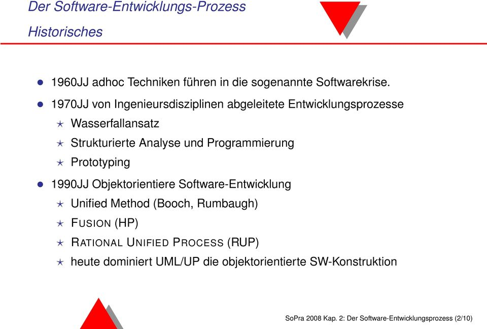 Programmierung Prototyping 1990JJ Objektorientiere Software-Entwicklung Unified Method (Booch, Rumbaugh) FUSION (HP)