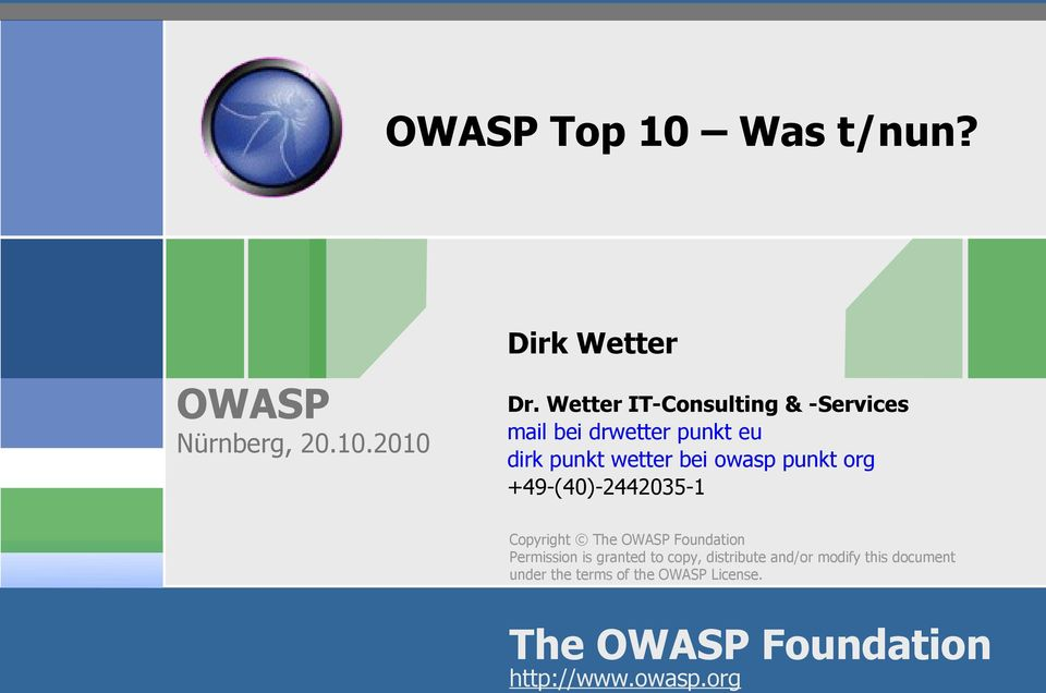 owasp punkt org +49-(40)-2442035-1 Copyright The Foundation Permission is granted