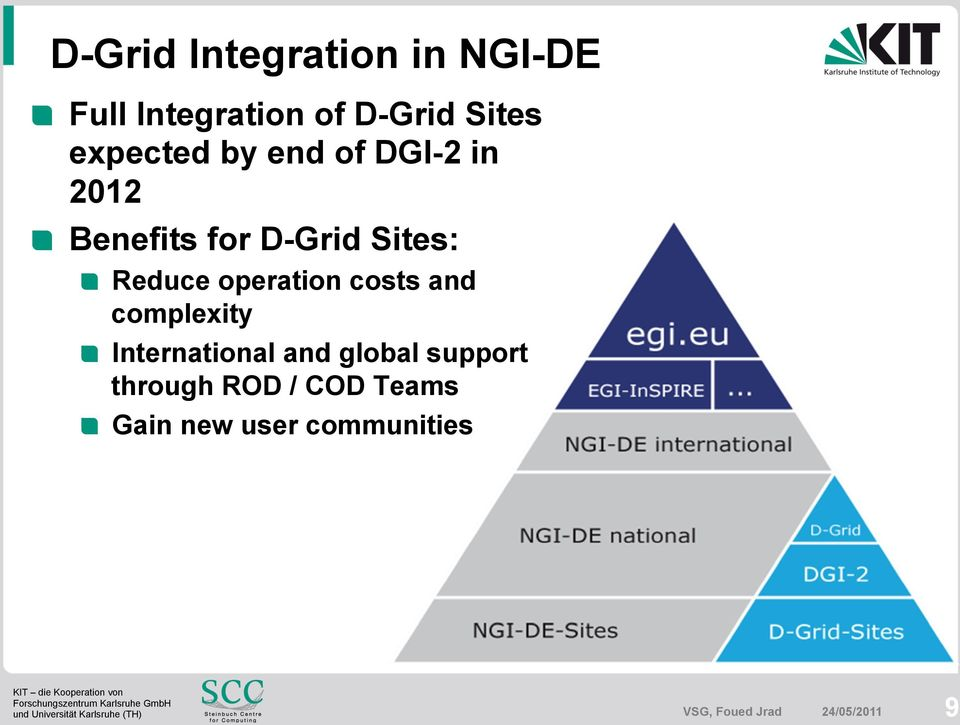 Benefits for D-Grid Sites:! Reduce operation costs and complexity!