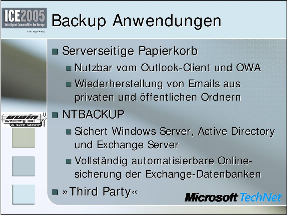 NTBACKUP Sichert Windows Server, Active Directory und Exchange Server