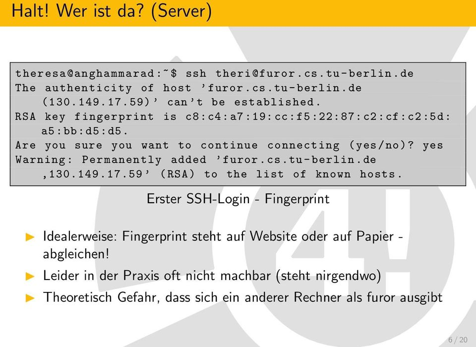 yes Warning : Permanently added furor.cs.tu - berlin.de, 130.149. 17. 59 ( RSA ) to the list of known hosts.