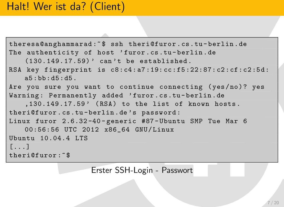 Are you sure you want to continue connecting ( yes / no)? yes Warning : Permanently added furor.cs.tu - berlin.de, 130.149. 17.