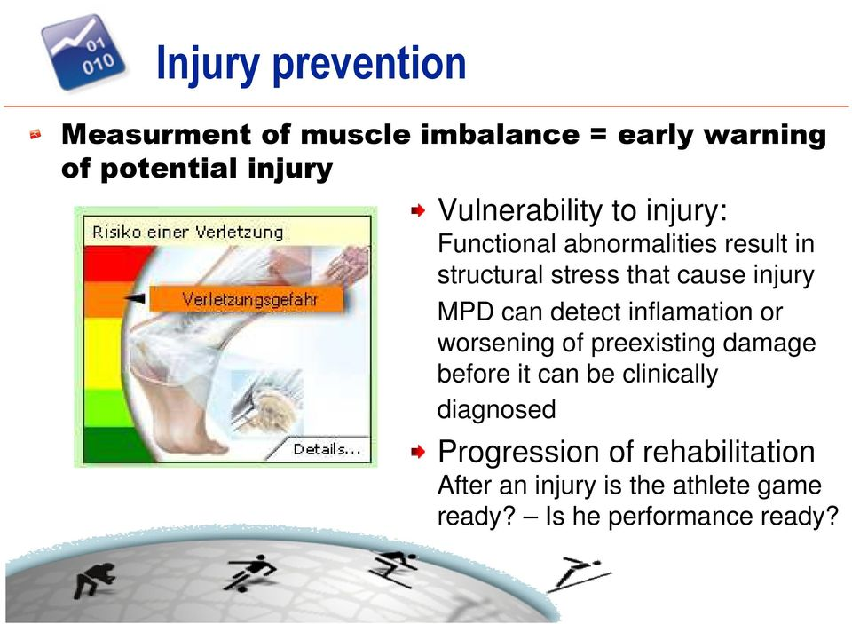 injury MPD can detect inflamation or worsening of preexisting damage before it can be