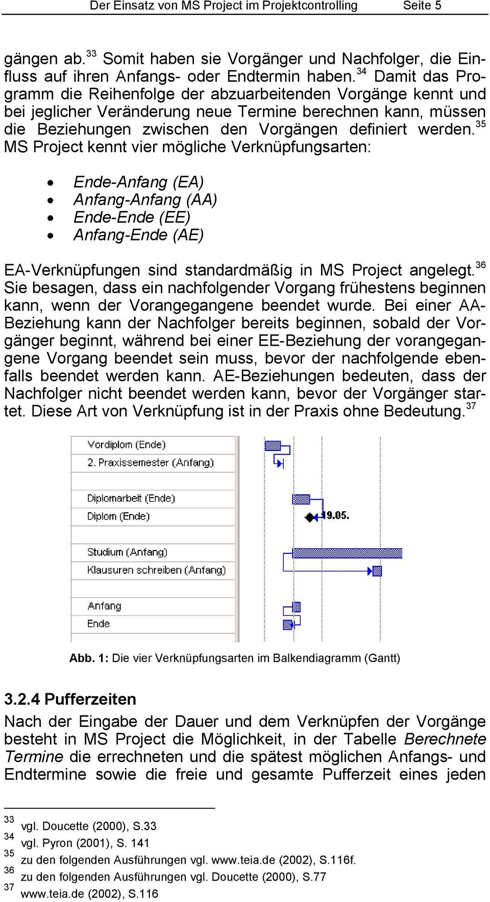 35 MS Project kennt vier mögliche Verknüpfungsarten: Ende-Anfang (EA) Anfang-Anfang (AA) Ende-Ende (EE) Anfang-Ende (AE) EA-Verknüpfungen sind standardmäßig in MS Project angelegt.