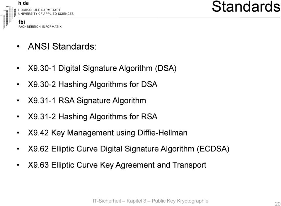 31-2 Hashing Algorithms for RSA X9.42 Key Management using Diffie-Hellman X9.