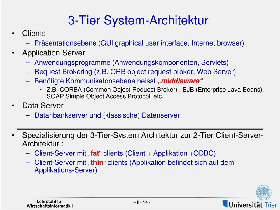Data Server Datanbankserver und (klassische) Datenserver Spezialisierung der 3-Tier-System Architektur zur 2-Tier Client-Server- Architektur : Client-Server mit fat clients